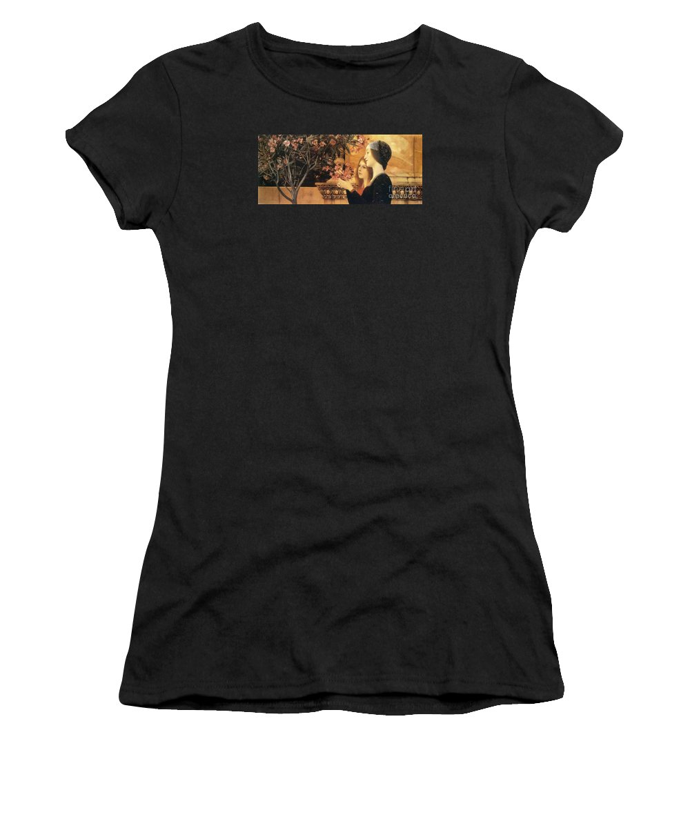 Master Artists Women's T-Shirt (Athletic Fit) featuring the painting Two Girls With An Oleander by Klimt