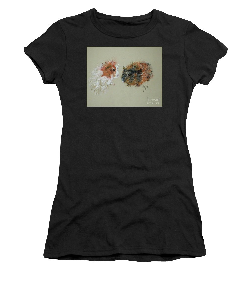 Guineas Women's T-Shirt (Athletic Fit) featuring the drawing Two Guineas by Cori Solomon