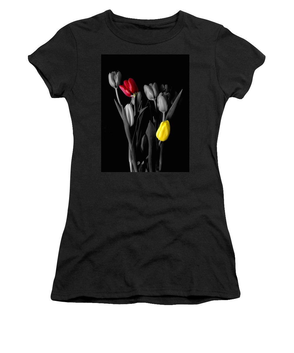 Tulips Women's T-Shirt (Athletic Fit) featuring the photograph Two In Love by Nancie DeMellia