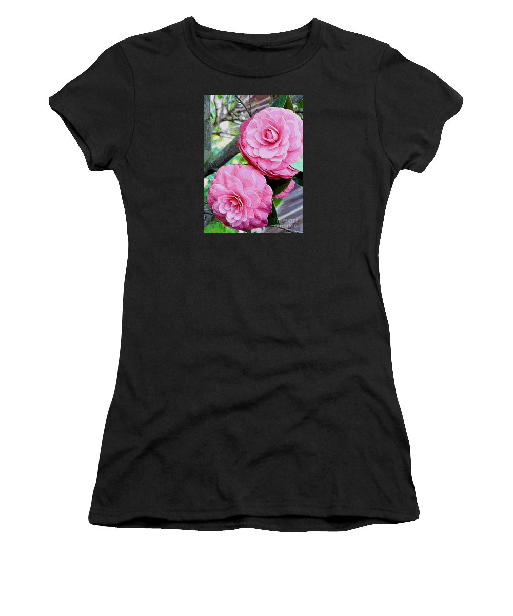 Camellia Women's T-Shirt (Athletic Fit) featuring the photograph Two Pink Camellias - Digital Art by Carol Groenen