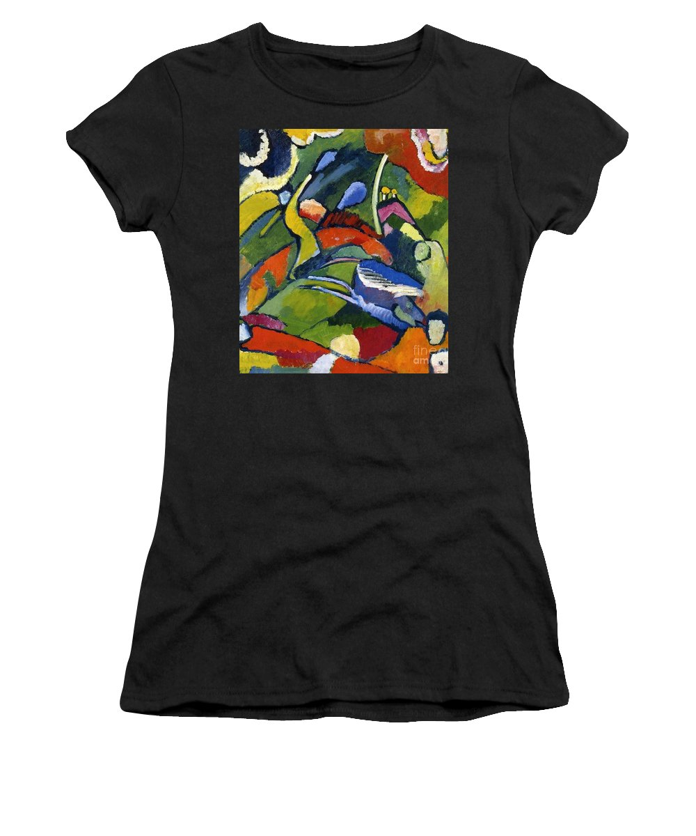 Master Artists Women's T-Shirt (Athletic Fit) featuring the painting Two Riders And Reclining Figure by Kandinsky