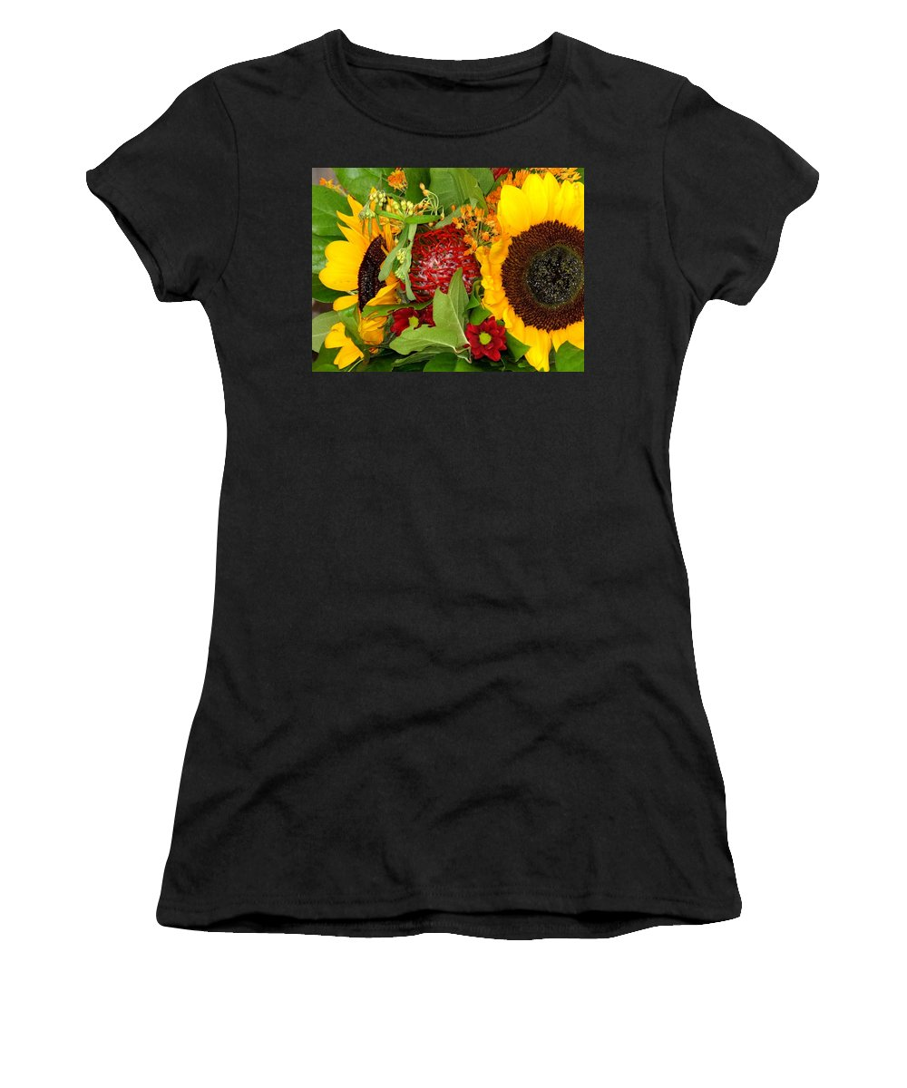 Sunflower Women's T-Shirt (Athletic Fit) featuring the photograph Two Suns by Ian MacDonald