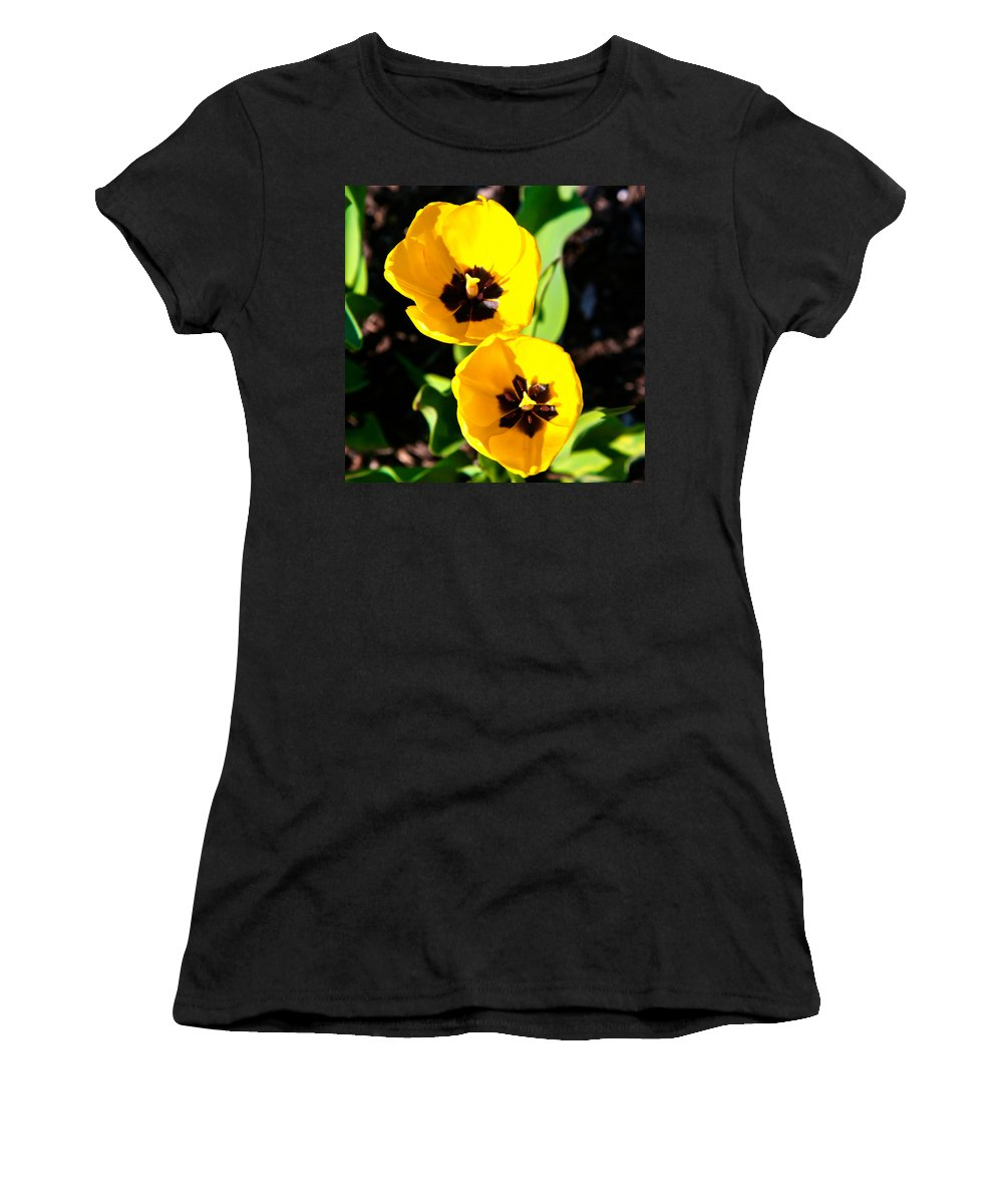 Related Tags: Flowers Artwork Women's T-Shirt (Athletic Fit) featuring the photograph Two Tulips 2 by Robert Pearson