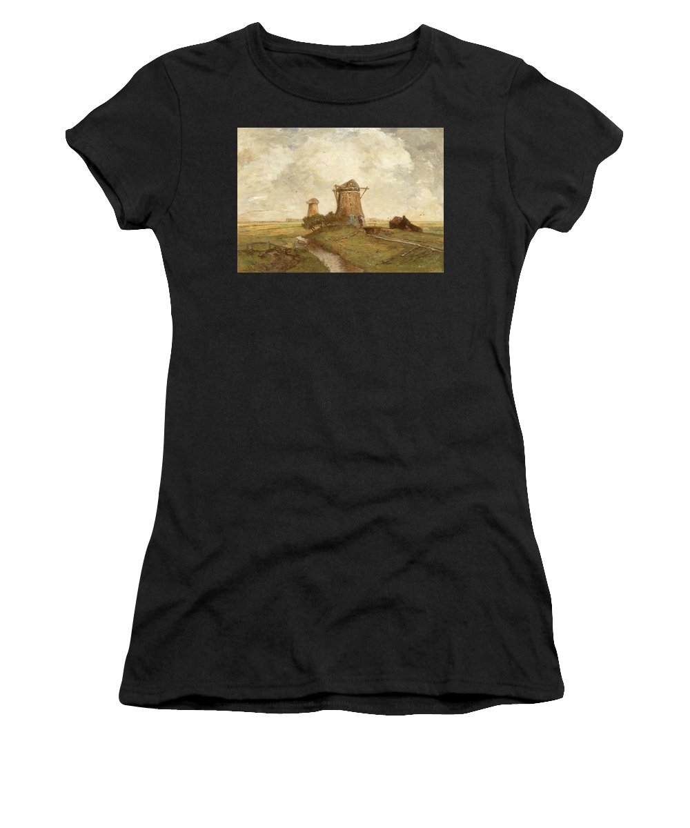 19th Century Painters Women's T-Shirt (Athletic Fit) featuring the painting Two Windmills Between Abcoude And Ouderkerk On The Amstel by Paul Gabriel