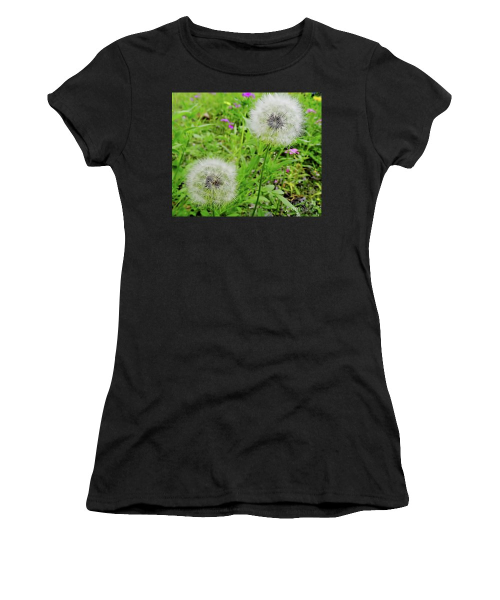 Dandelion Women's T-Shirt featuring the photograph Two Wishes by D Hackett