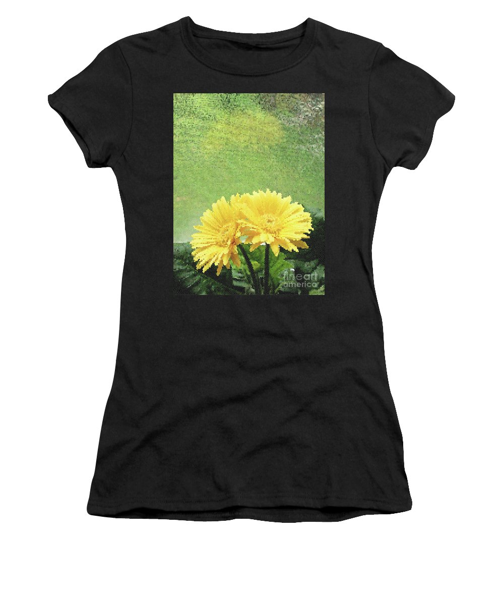 Yellow Women's T-Shirt (Athletic Fit) featuring the digital art Two Yellow Gerber Daisies by Catherine Cairns-OKeefe