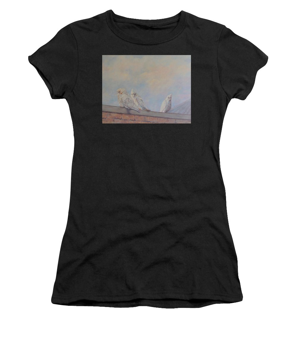 Birds Women's T-Shirt (Athletic Fit) featuring the painting Two's Company by Margaret Storey