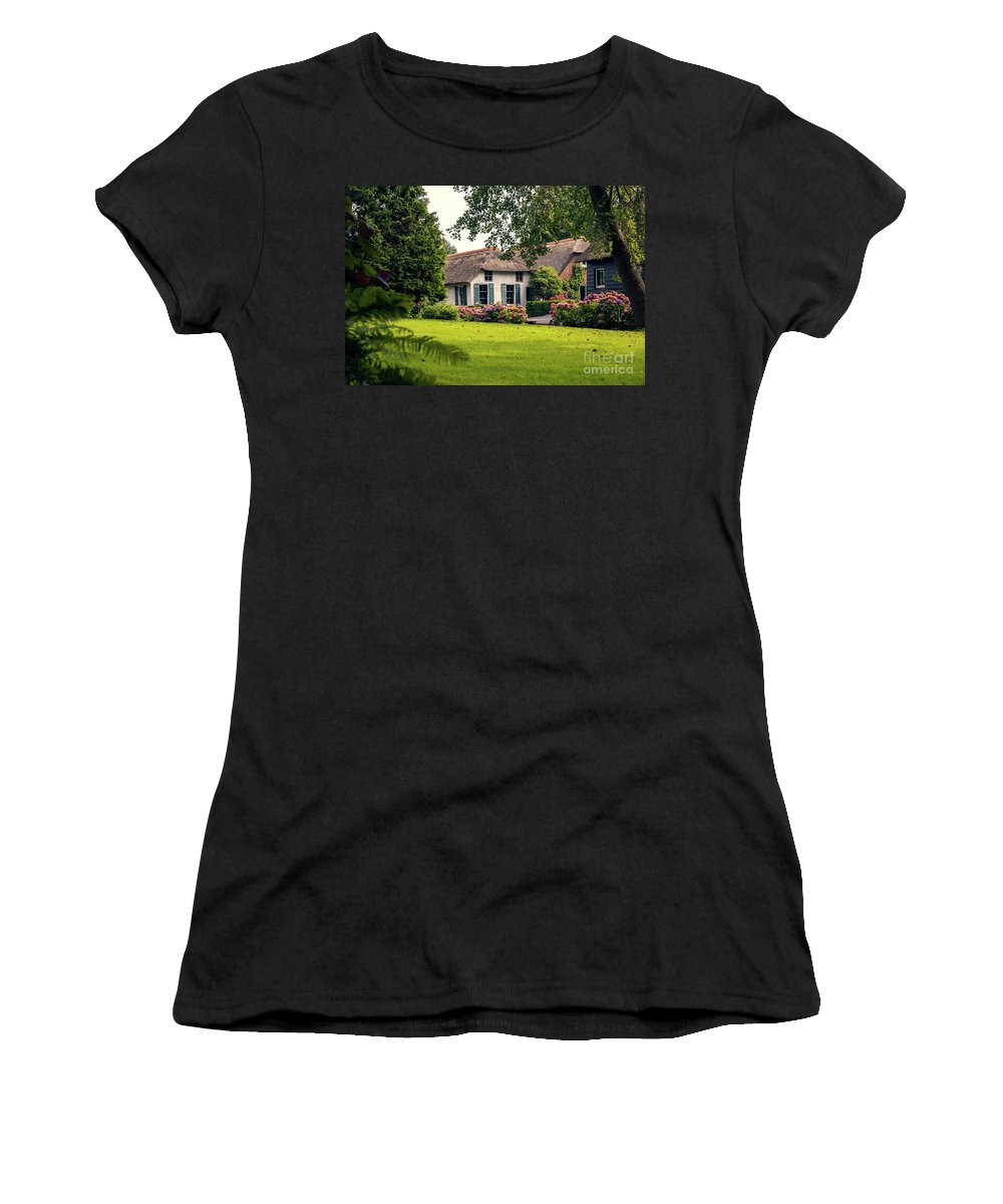 Architecture Women's T-Shirt featuring the photograph typical dutch county side of houses and gardens, Giethoorn by Ariadna De Raadt