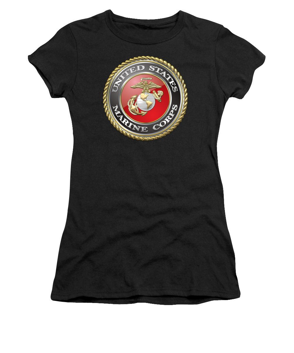 'military Insignia & Heraldry 3d' Collection By Serge Averbukh Women's T-Shirt (Athletic Fit) featuring the digital art U. S. Marine Corps - U S M C Emblem by Serge Averbukh
