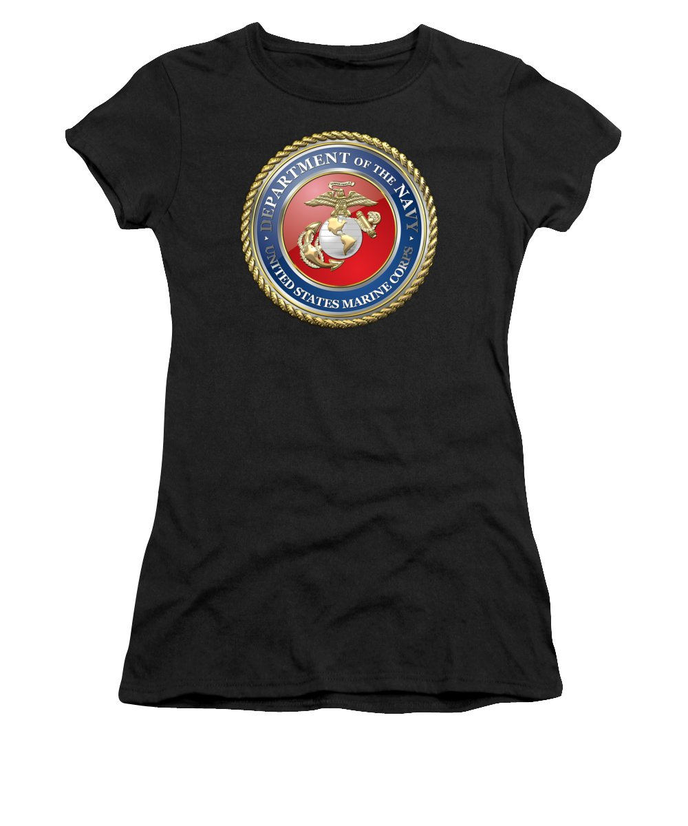 'military Insignia & Heraldry 3d' Collection By Serge Averbukh Women's T-Shirt (Athletic Fit) featuring the digital art U. S. Marine Corps - U S M C Seal by Serge Averbukh