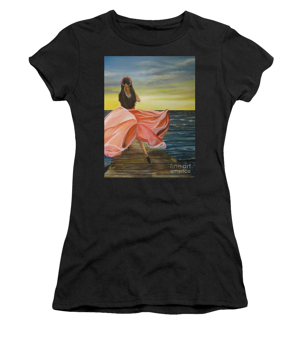 Sunset Women's T-Shirt (Athletic Fit) featuring the painting Uhane O Ka Welo by Kris Crollard