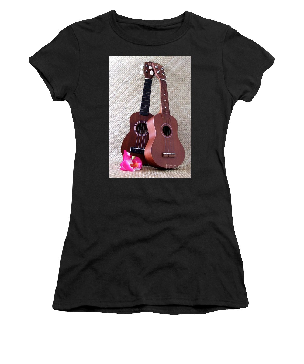 Mary Deal Women's T-Shirt (Athletic Fit) featuring the photograph Ukulele Duet by Mary Deal