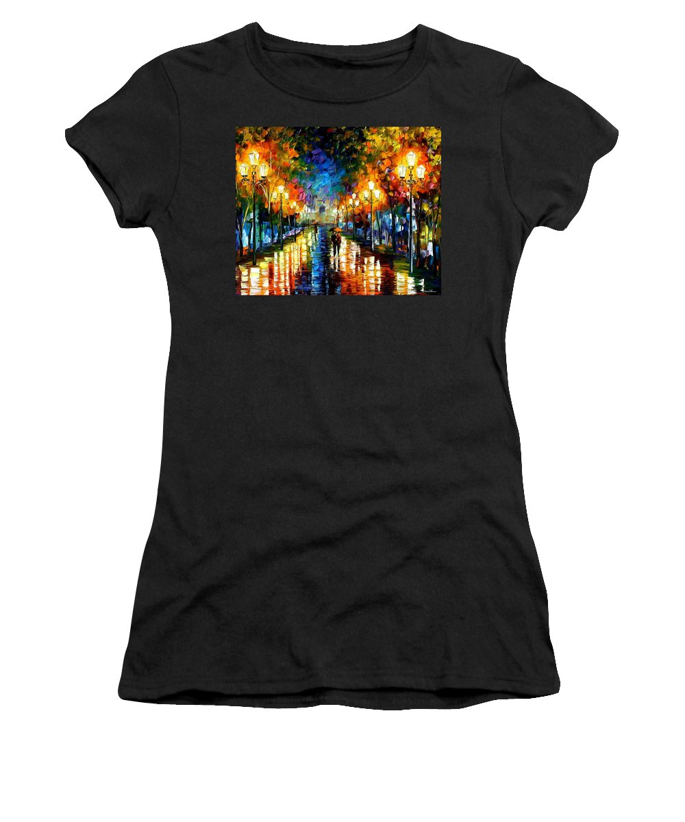 Afremov Women's T-Shirt (Athletic Fit) featuring the painting Under Brown Umbrella by Leonid Afremov