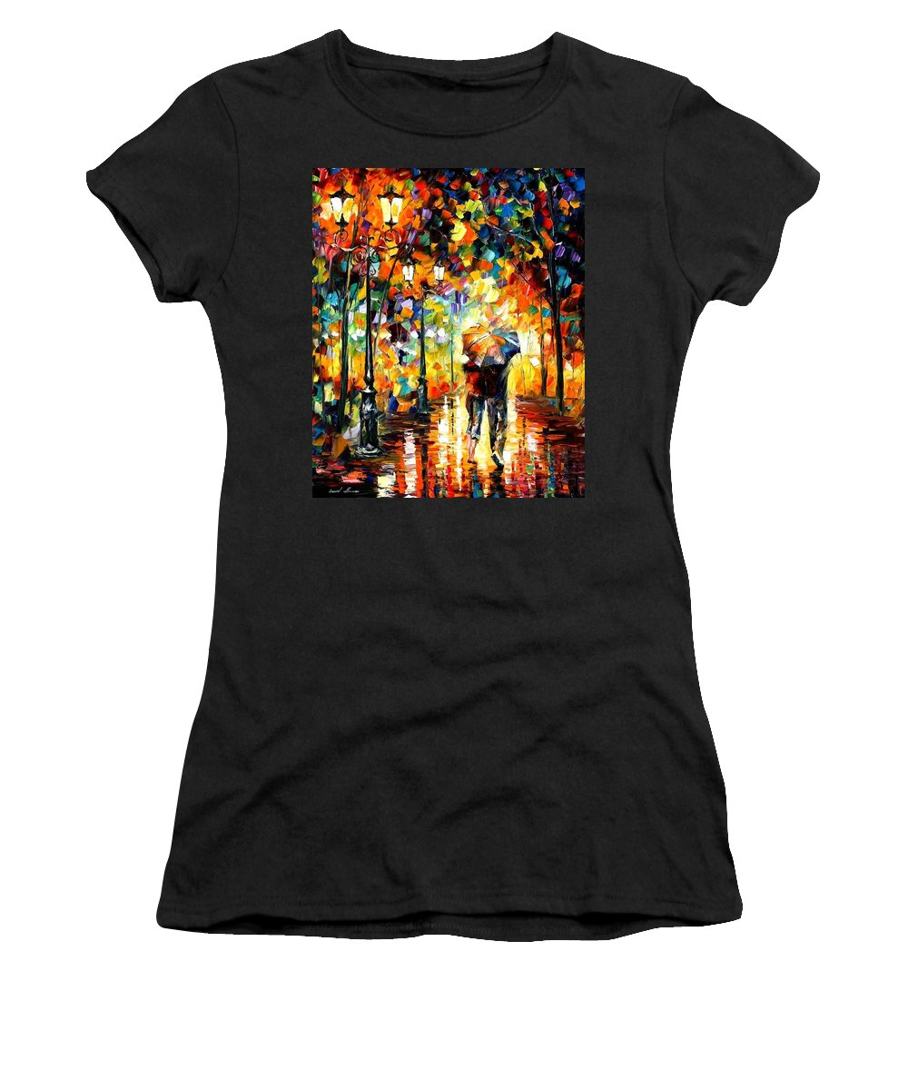 Afremov Women's T-Shirt featuring the painting Under One Umbrella by Leonid Afremov