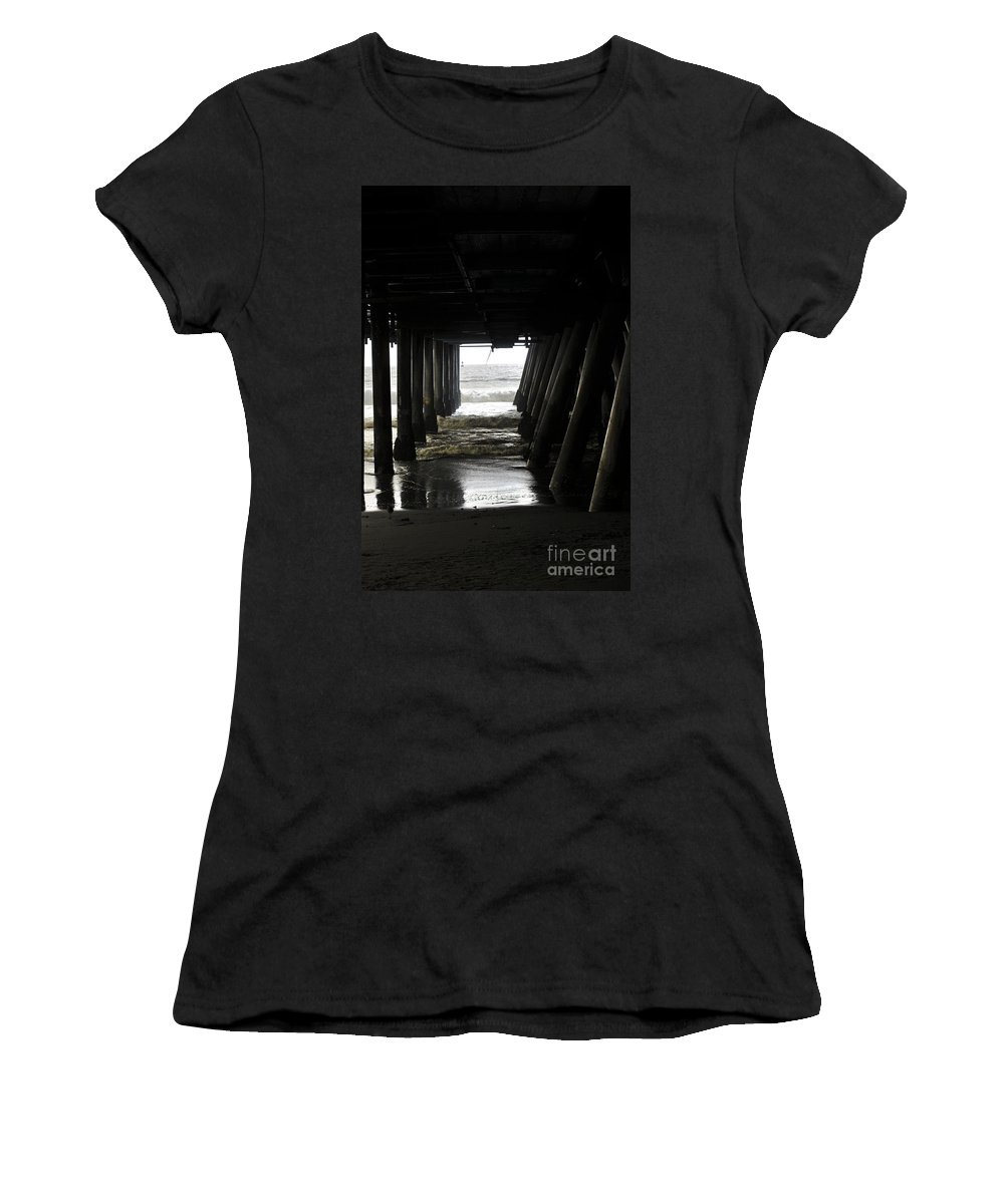 Clay Women's T-Shirt featuring the photograph Under Santa Monica Pier by Clayton Bruster