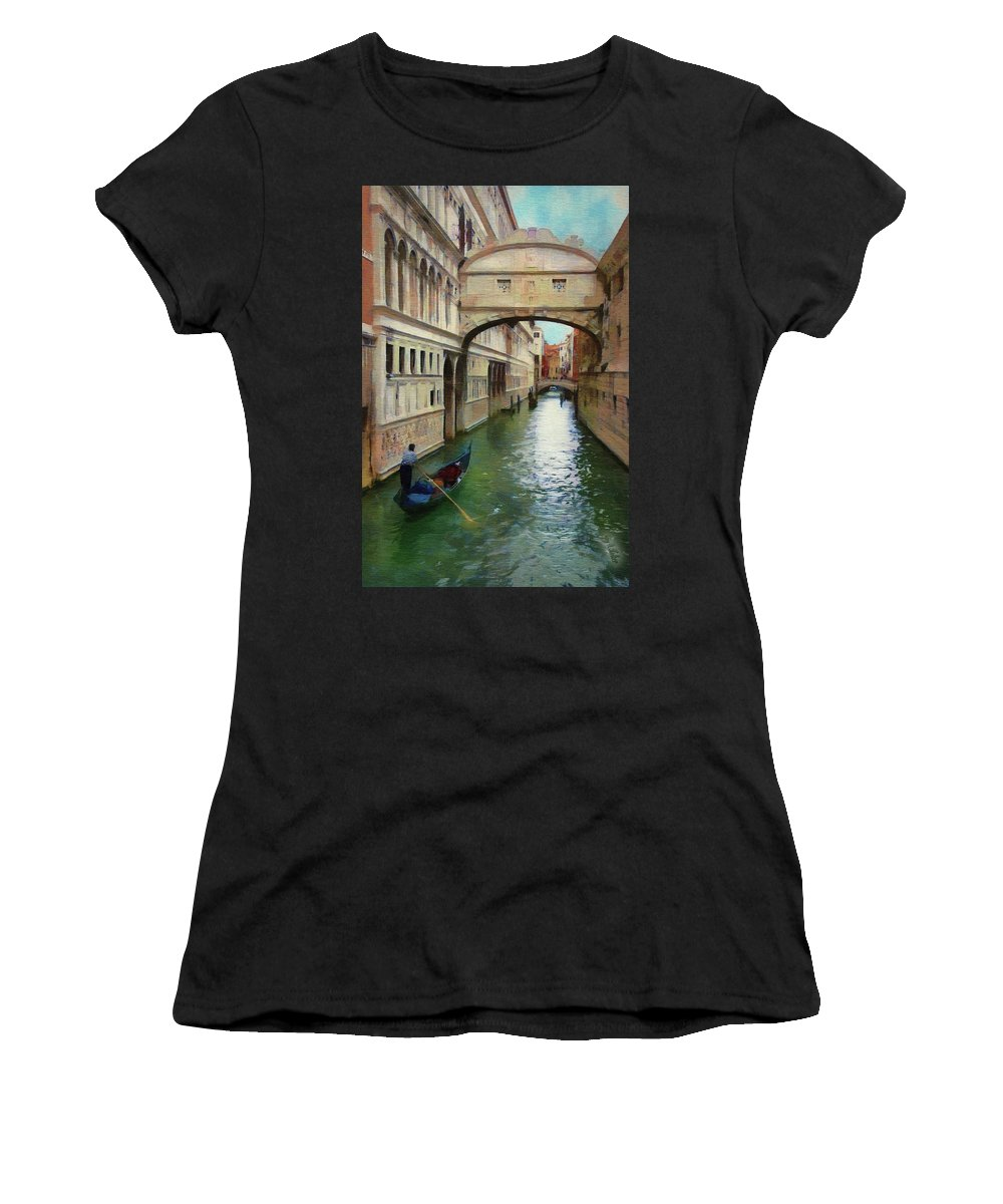 Bridge Of Sighs Women's T-Shirt featuring the painting Under The Bridge Of Sighs by Jeffrey Kolker