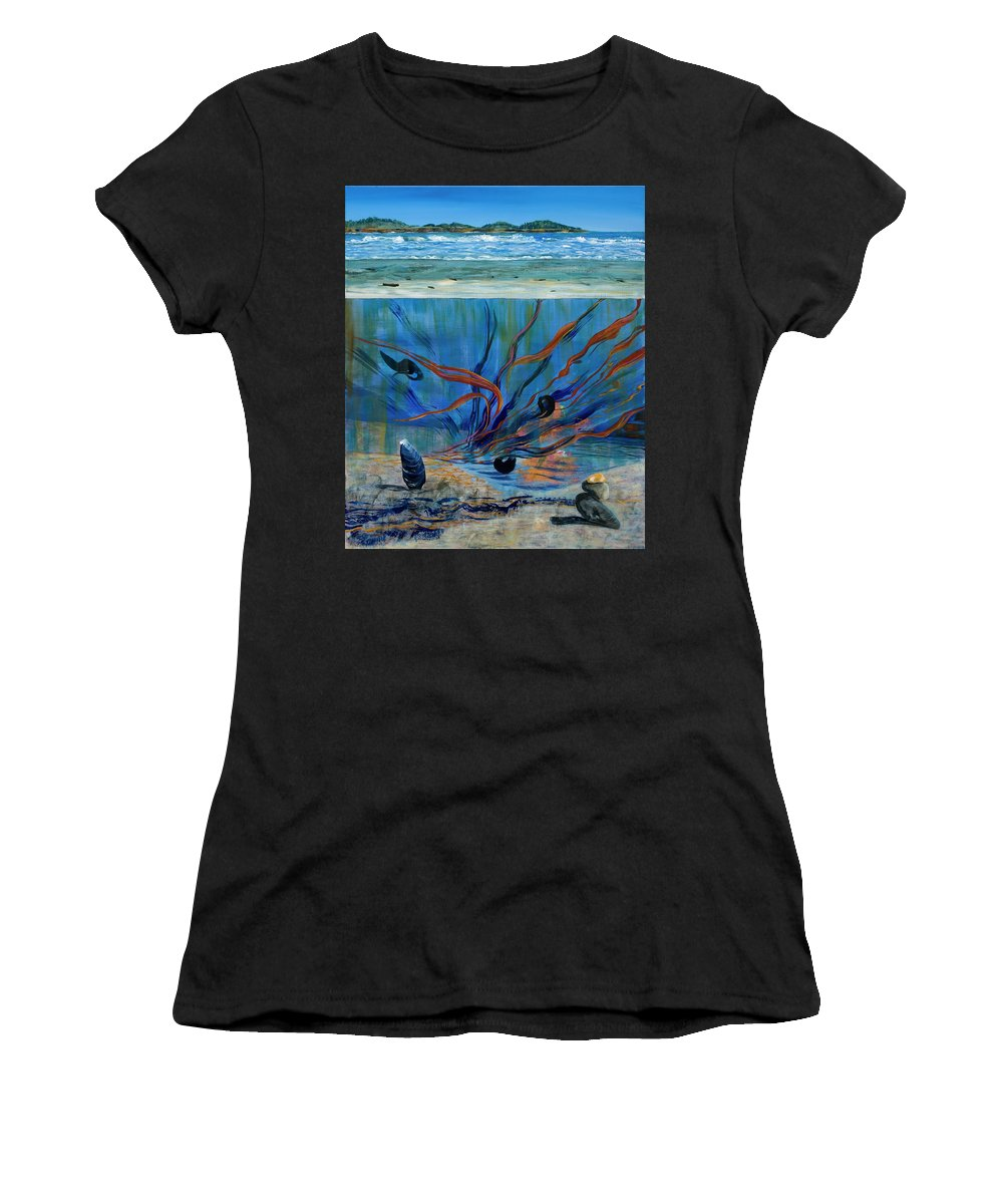 Mendocino Coast Women's T-Shirt (Athletic Fit) featuring the painting Under Water - Point Of View by Gabriele Schwibach