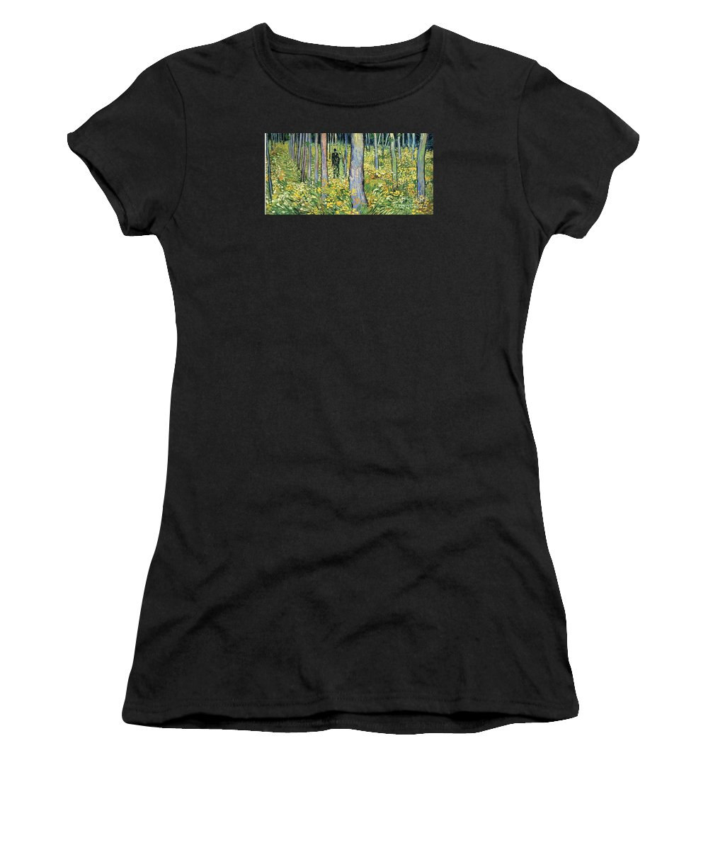 Master Artists Women's T-Shirt (Athletic Fit) featuring the painting Undergrowth With Two Figures by Van Gogh