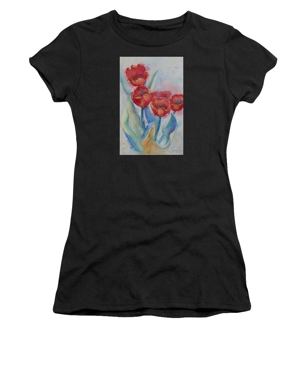 Flowers Women's T-Shirt (Athletic Fit) featuring the painting Undersea Tulips by Ruth Kamenev