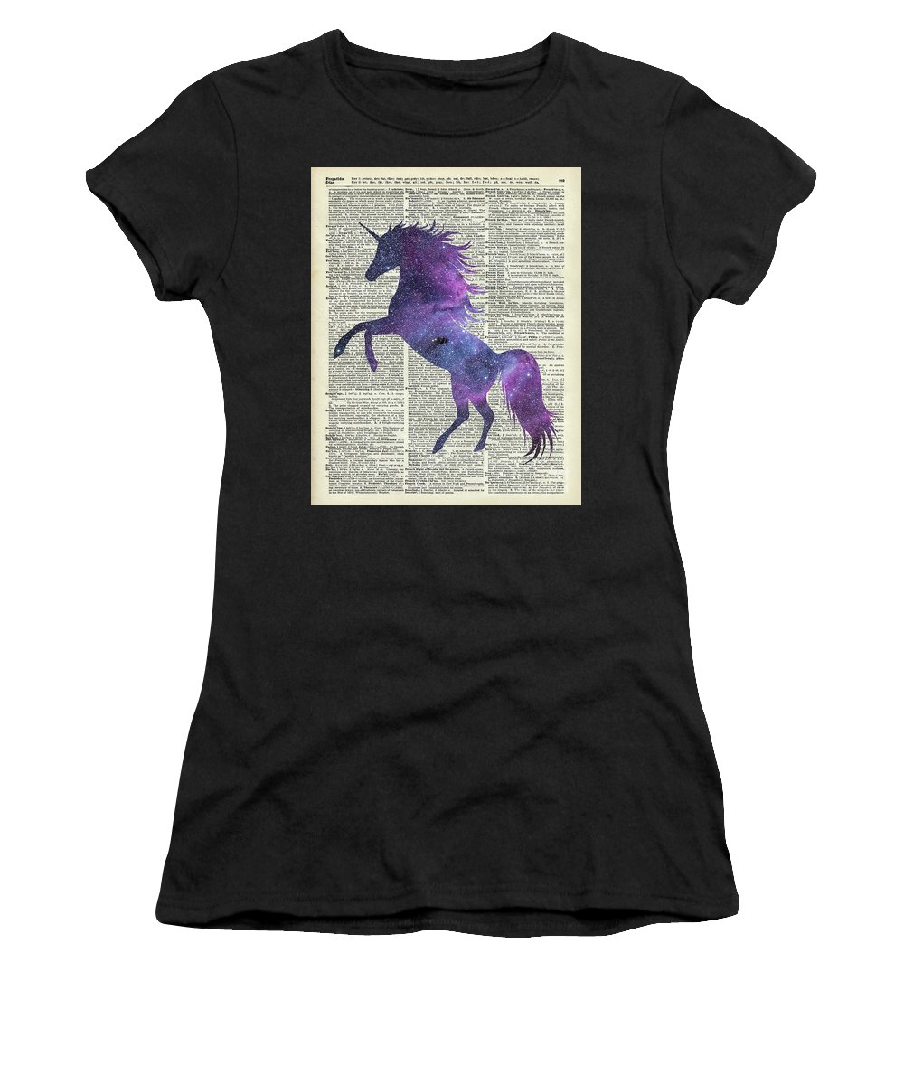 Unicorn Women's T-Shirt featuring the painting Unicorn In Space by Anna W