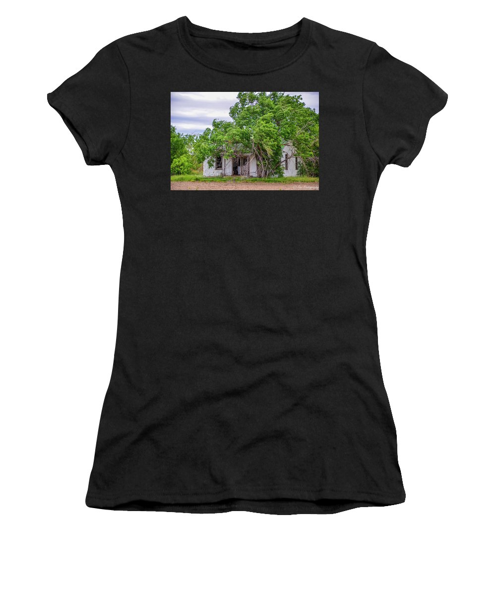 Black And White Picture Women's T-Shirt (Athletic Fit) featuring the photograph Uninhibited In Color by Soni Macy