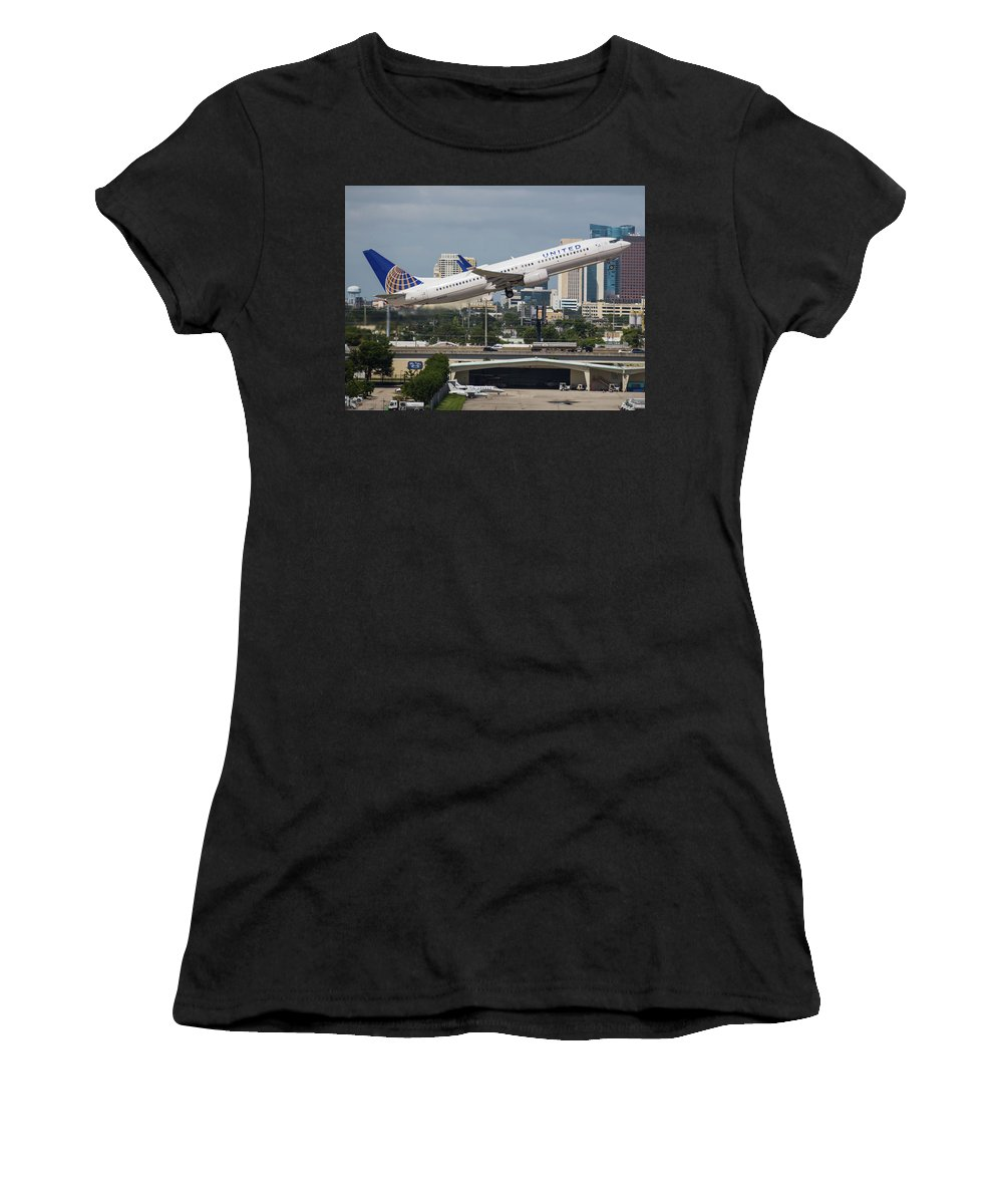 United Women's T-Shirt featuring the photograph United Airlines by Dart Humeston