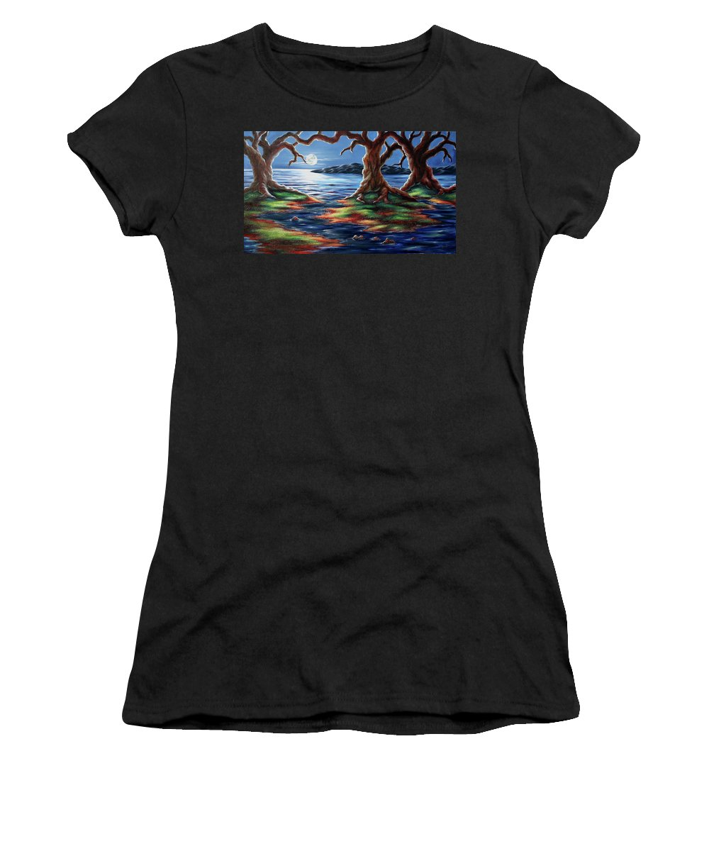 Textured Painting Women's T-Shirt featuring the painting United Trees by Jennifer McDuffie