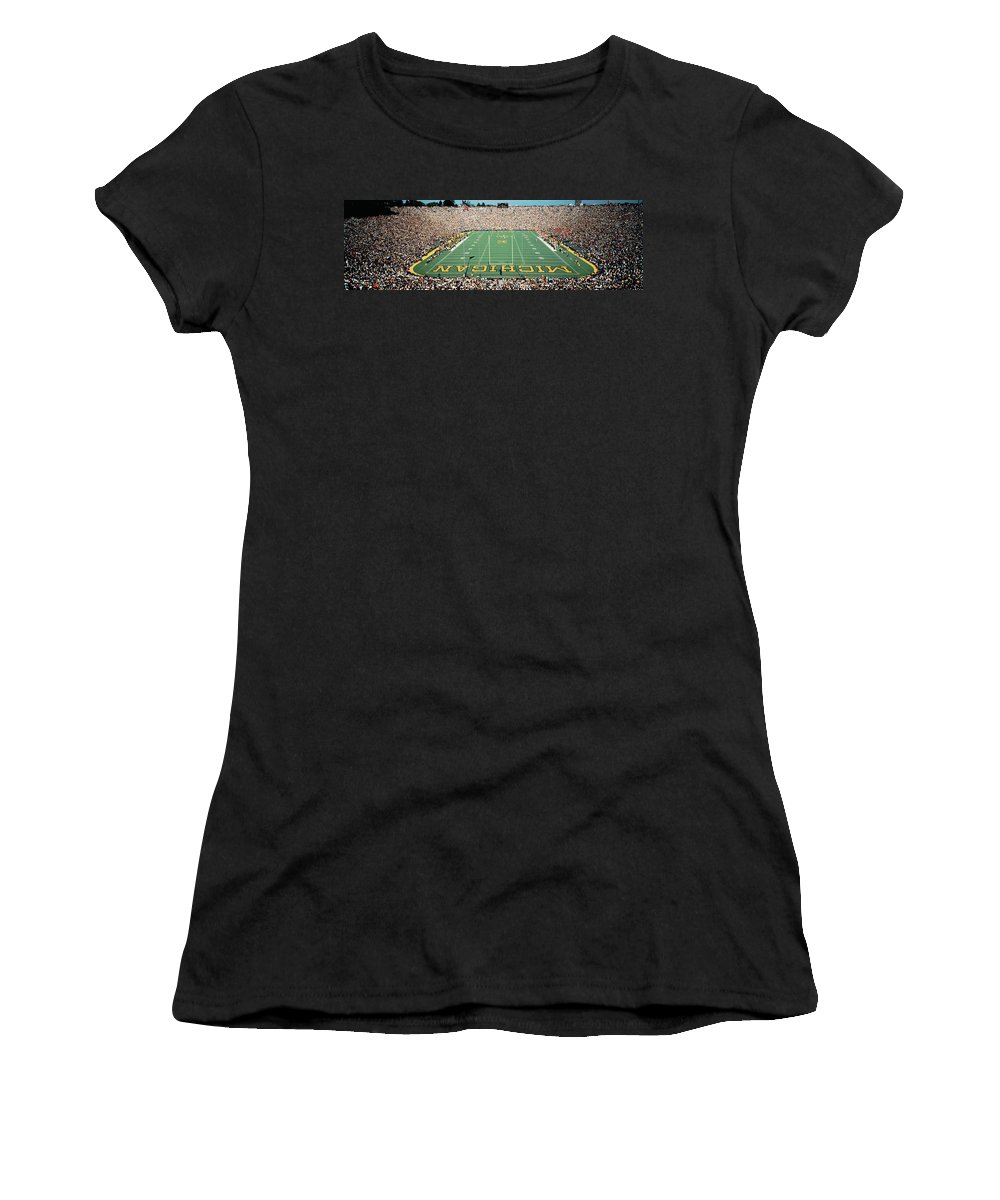 Photography Women's T-Shirt featuring the photograph University Of Michigan Stadium, Ann by Panoramic Images