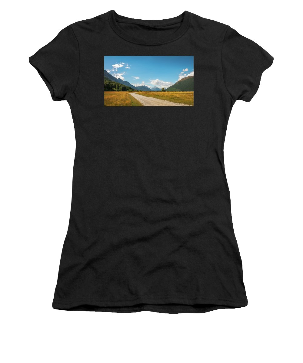 Colorful Women's T-Shirt featuring the photograph Unspoiled Alpine Scenery From Kinloch-glenorchy Road, Nz by Daniela Constantinescu