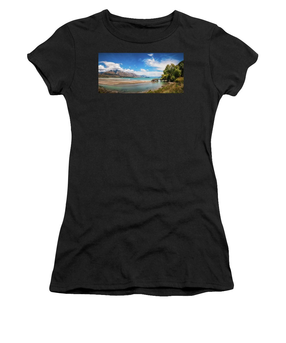 Alps Women's T-Shirt featuring the photograph Unspoiled Alpine Scenery In Kinloch Wharf, New Zealand by Daniela Constantinescu