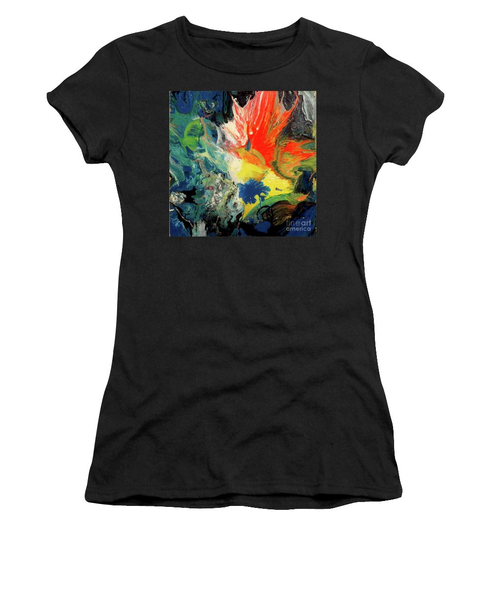 Moon Women's T-Shirt featuring the painting Untitled 2 by Yoseph Abate