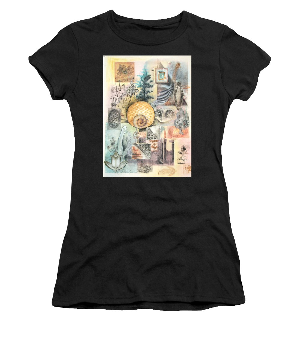 Abstract Women's T-Shirt (Athletic Fit) featuring the mixed media Up And Away by Valerie Meotti
