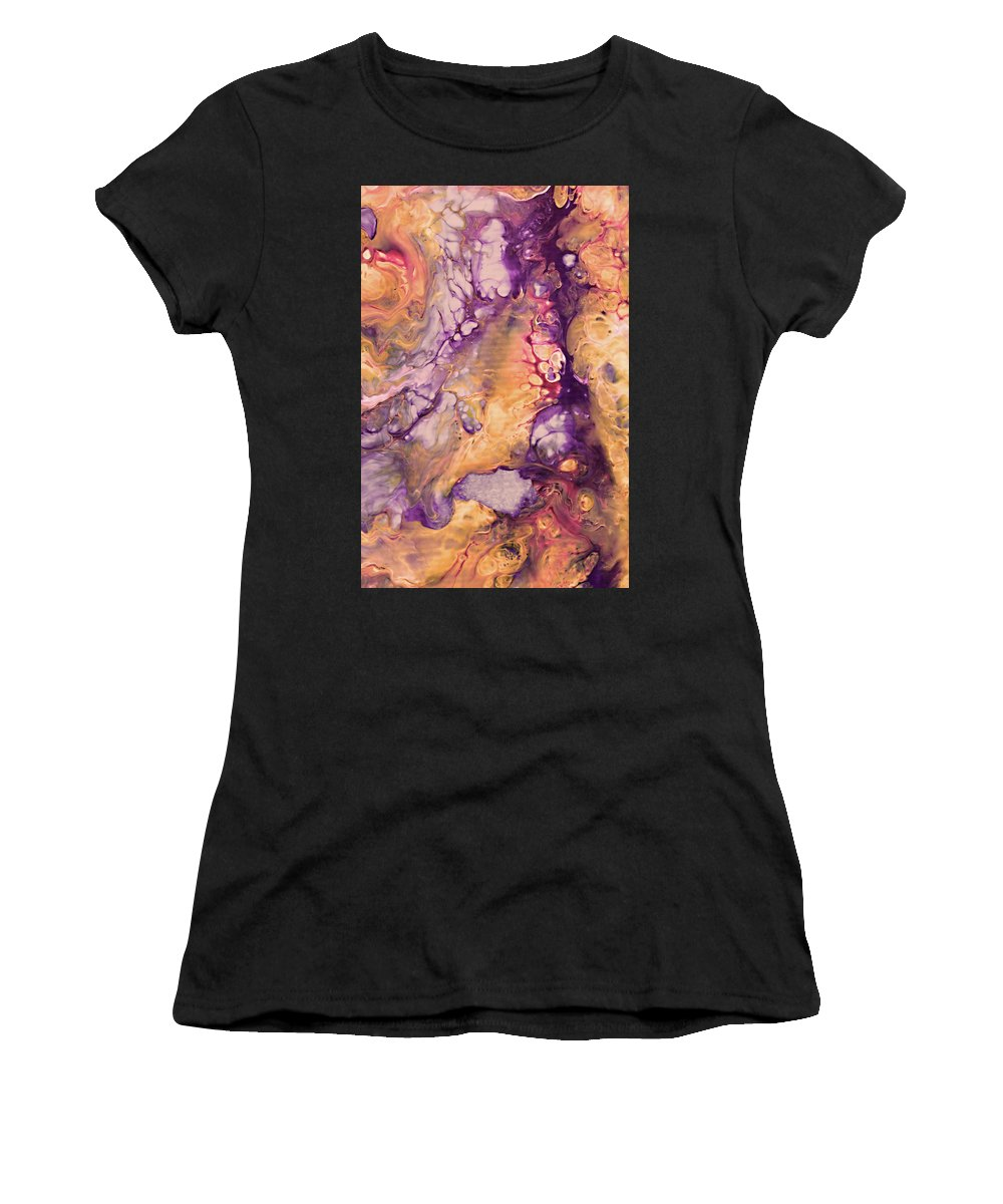 Abstract Women's T-Shirt (Athletic Fit) featuring the painting Upside Down Jellyfish And The Chicken Close Up by Amy Nordby