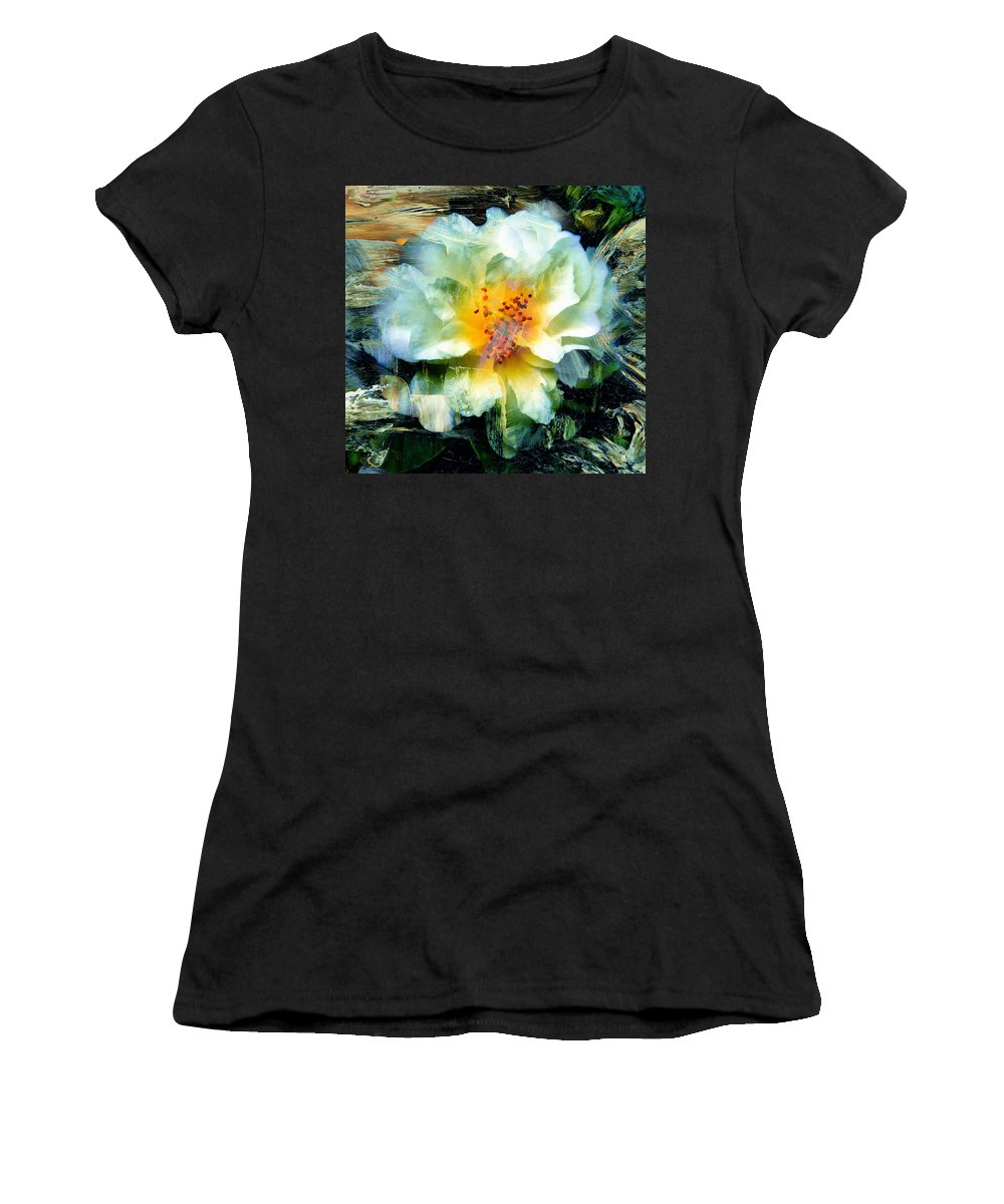 Hibiscus Women's T-Shirt (Athletic Fit) featuring the mixed media Urban Beauty by Georgiana Romanovna