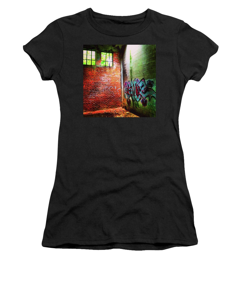 Urban Decay Women's T-Shirt (Athletic Fit) featuring the photograph Urban Decay Grafitti Windows by Patrick Malon