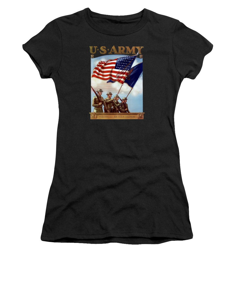 Us Army Women's T-Shirt featuring the painting Us Army -- Guardian Of The Colors by War Is Hell Store