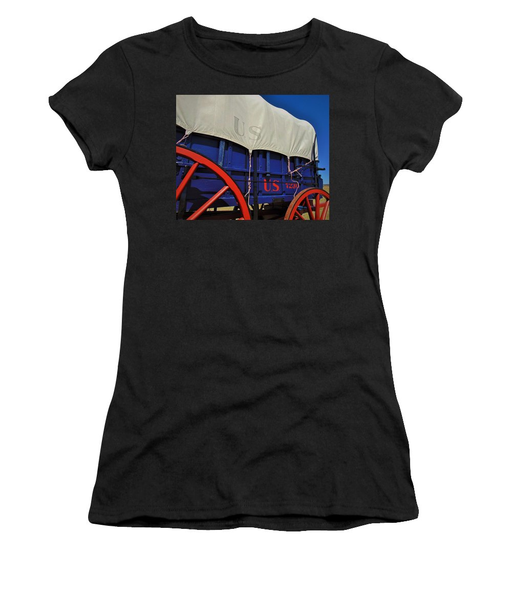 Fort Union Women's T-Shirt (Athletic Fit) featuring the photograph U S Army Supply Wagon by Carl Miller