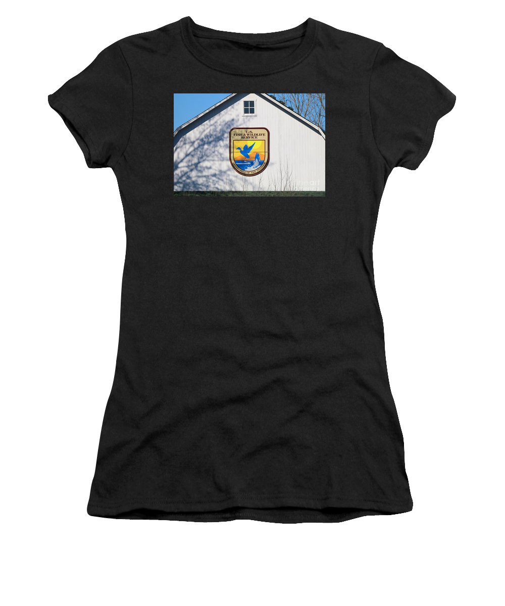 Jack Schultz Photography Women's T-Shirt featuring the photograph Us Fish And Wildlife Service Sign 3931 by Jack Schultz