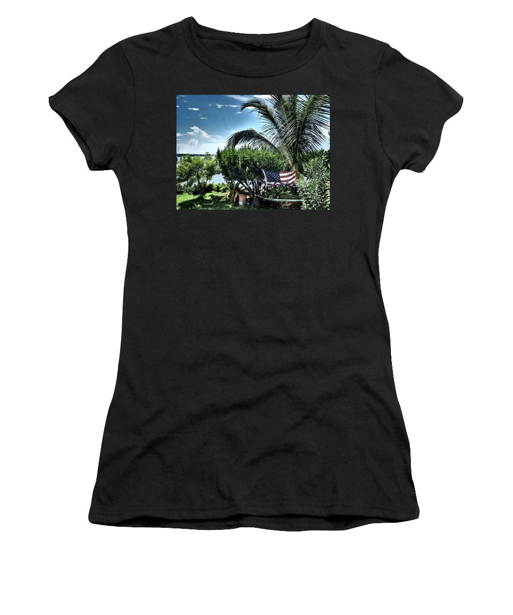 Amerian Flag Women's T-Shirt featuring the photograph US Flag in the Abaco Islands, Bahamas by Cindy Ross
