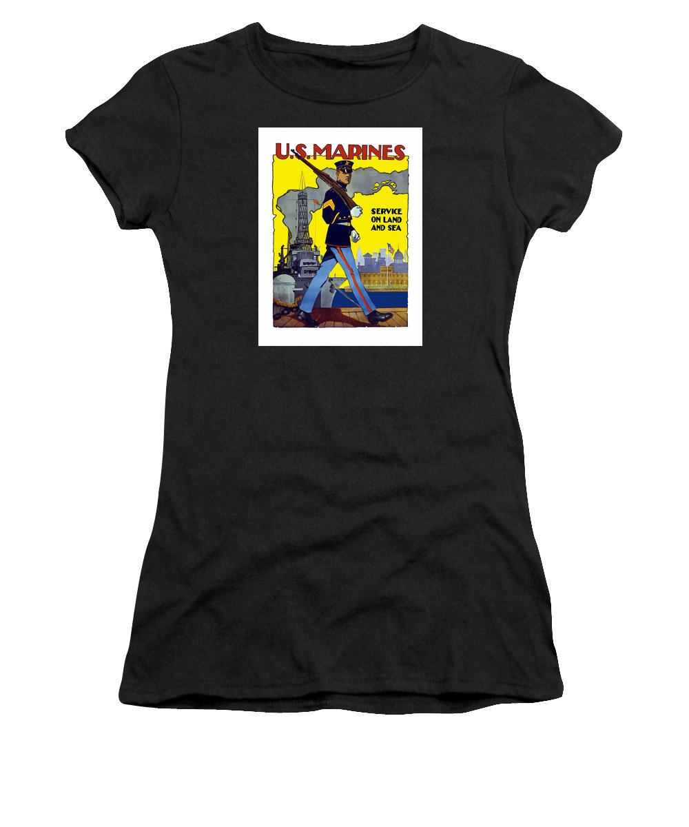 Marines Women's T-Shirt (Athletic Fit) featuring the painting U.s. Marines - Service On Land And Sea by War Is Hell Store