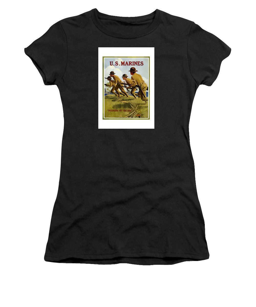 Marines Women's T-Shirt (Athletic Fit) featuring the painting Us Marines - Soldiers Of The Sea by War Is Hell Store