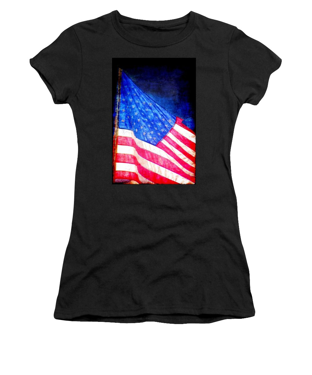 Flag Women's T-Shirt (Athletic Fit) featuring the photograph USA by Donna Bentley