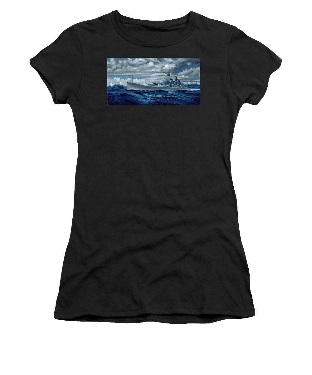 Uss Canberra Cag-2 Women's T-Shirt (Athletic Fit) featuring the painting Uss Canberra Cag-2 by George Bieda