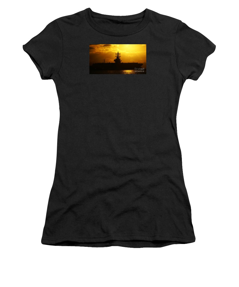 Uss Navy Women's T-Shirt (Athletic Fit) featuring the photograph Uss Ronald Reagan by Linda Shafer