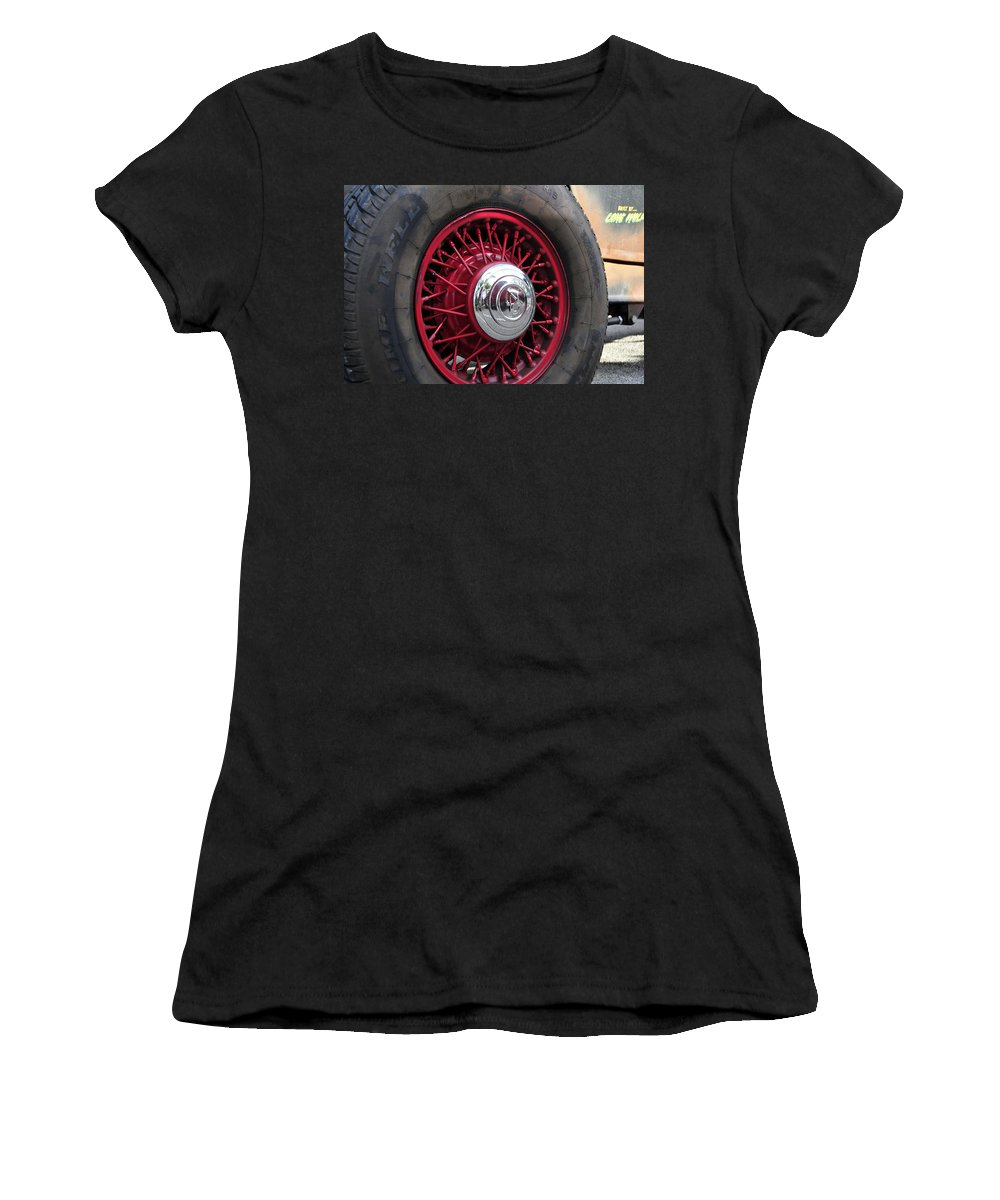Oldsmobile Women's T-Shirt featuring the photograph V8 Wheels by David Lee Thompson