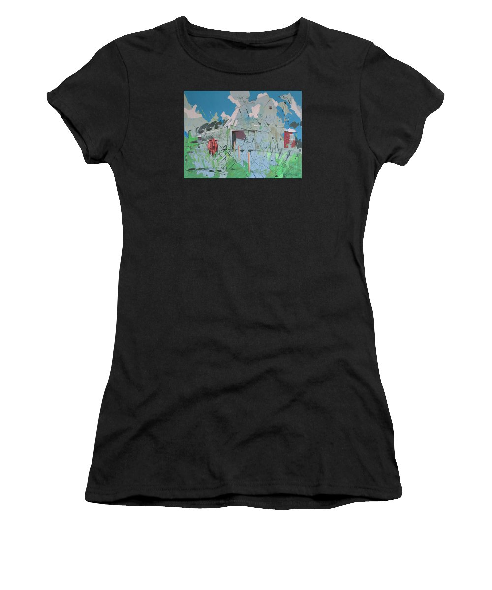Barn Women's T-Shirt (Athletic Fit) featuring the painting Vacant Vaca Barn by Jeff Seaberg
