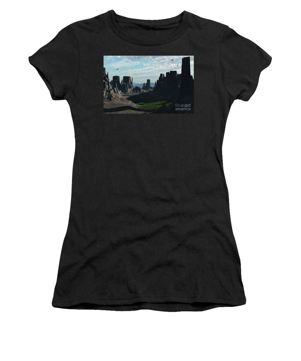 Valley Women's T-Shirt (Athletic Fit) featuring the digital art Valley Of The Kings by Richard Rizzo