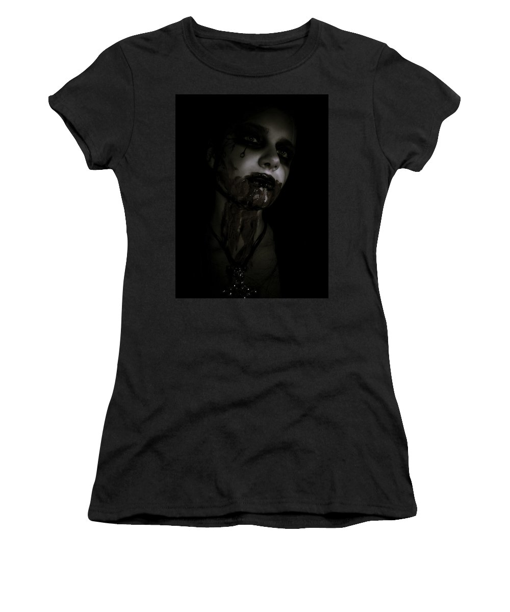 Vampire Women's T-Shirt (Athletic Fit) featuring the photograph Vampire Feed 2 by Kelly Jade King