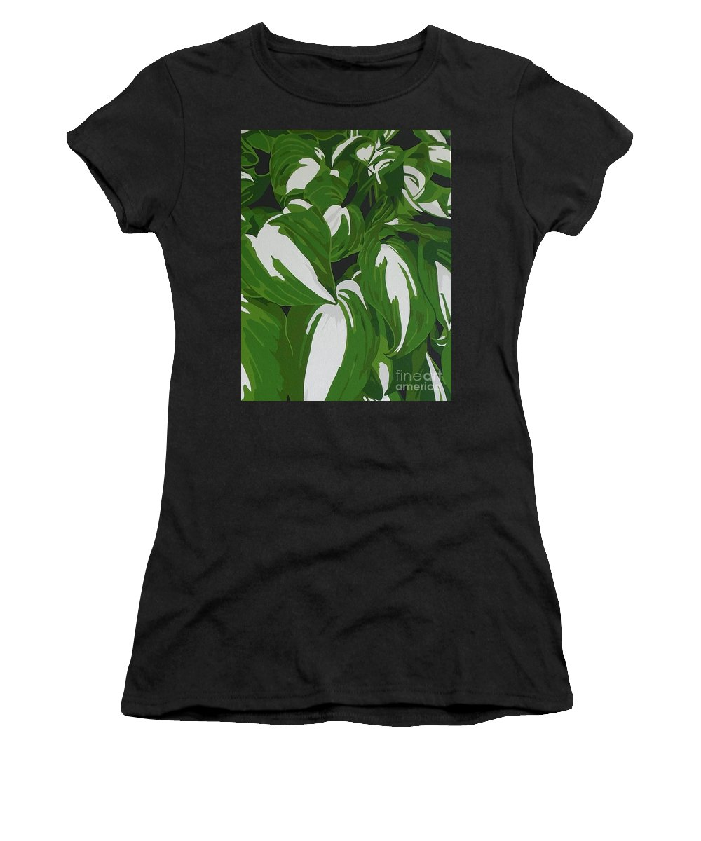 Acrylic Women's T-Shirt featuring the painting Variegated Hostas by Susan Porter