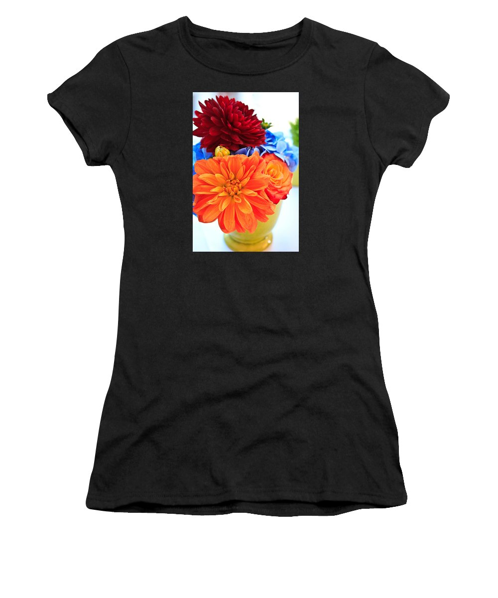 Red Women's T-Shirt (Athletic Fit) featuring the photograph Vase Of Colorful Flowers by Joni Eskridge